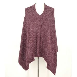 J. Jill Purple Cable Knit Sweater Poncho